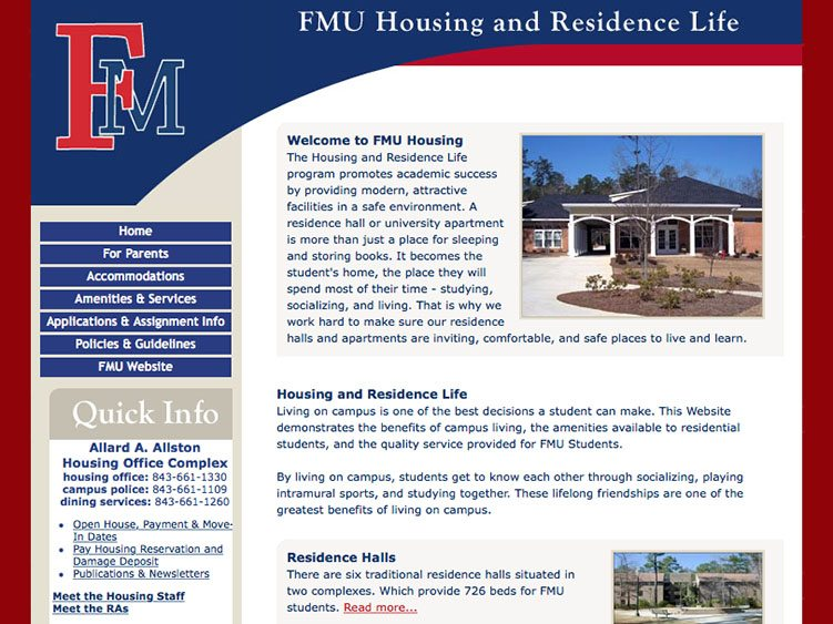 Website screenshot for FMU Housing and Residence Life