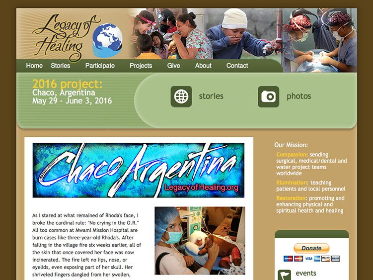 Website screenshot for Legacy of Healing