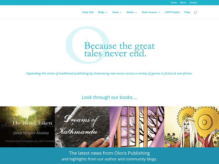 Website screenshot for Oloris Publishing