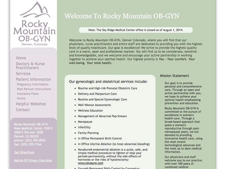 Website screenshot for Rocky Mountain OB-GYN
