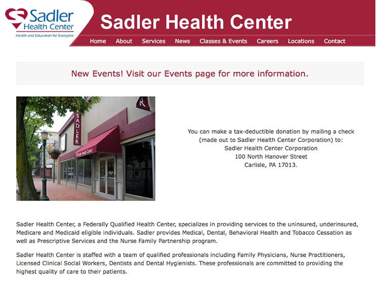 Website screenshot for Sadler Health Center