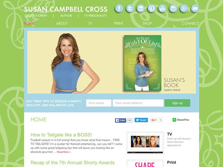 Website screenshot for Susan Campbell Cross