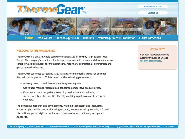 Website screenshot for ThermoGear