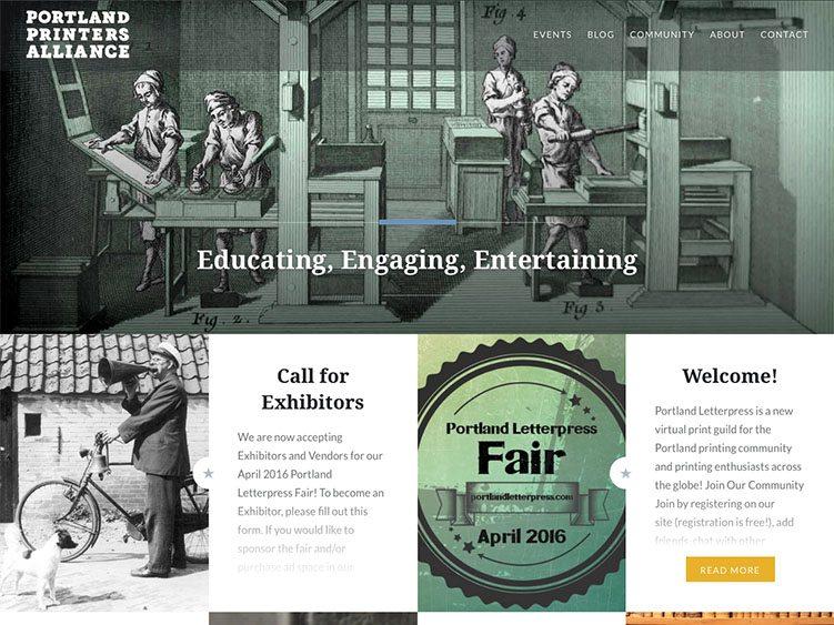 Website screenshot for Portland Printers Alliance